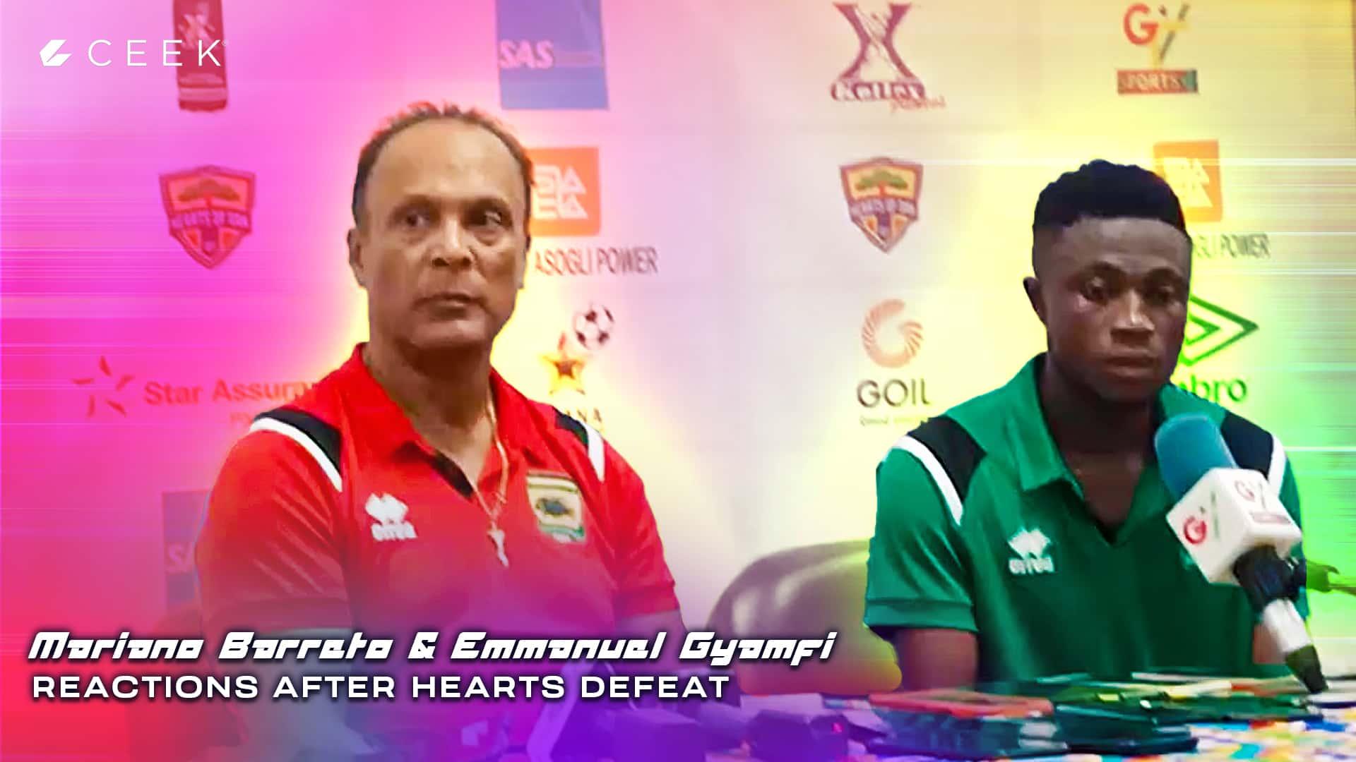 Mariano Barreto and Emmanuel Gyamfi reactions after Hearts defeat
